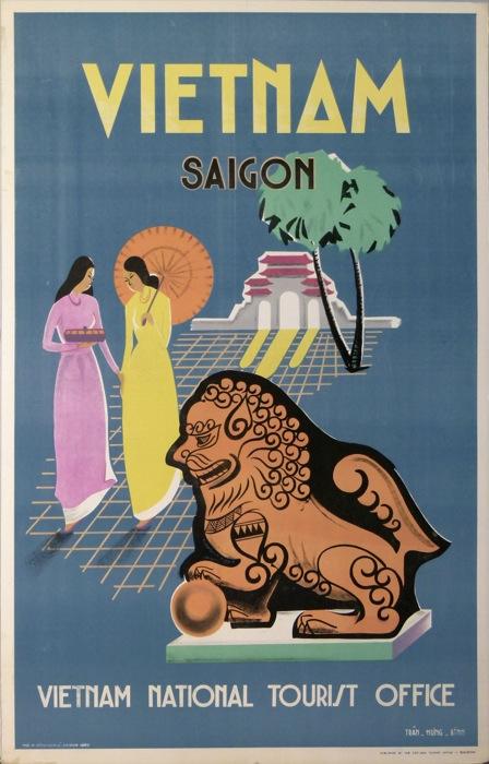 Reproduction Vintage Travel Poster Vietnam for Saigon South-East Asia 1960/'s